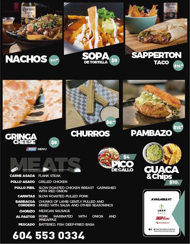 Menu The Taco Factory
